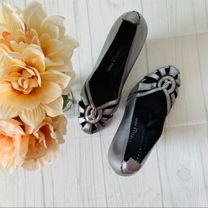 Isabella Fiore Silver Leather Wedge Heels